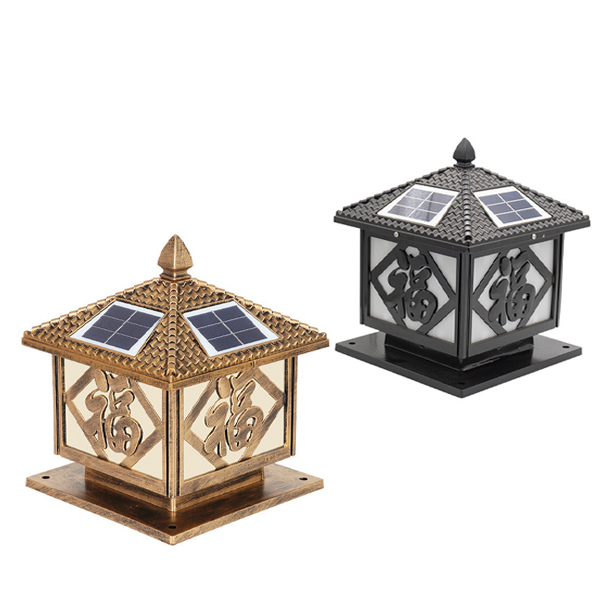 Đèn trụ cổng năng lượng mặt trời chữ phúc DMT-TC12M (30x30)
