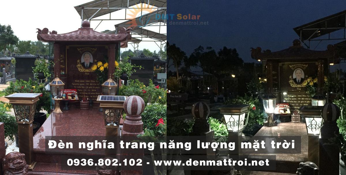 đèn trụ cổng năng lượng mặt trời lắp ở bia mộ